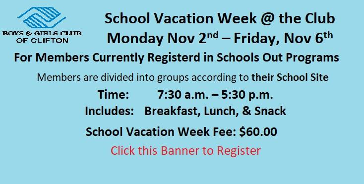 School Vacation Week @ the Club